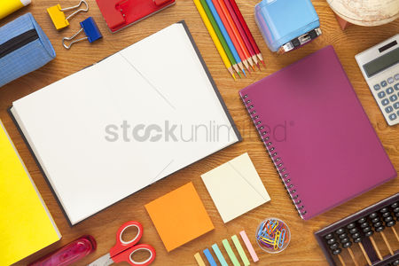 Flat : School and office supplies on desk background with copy space