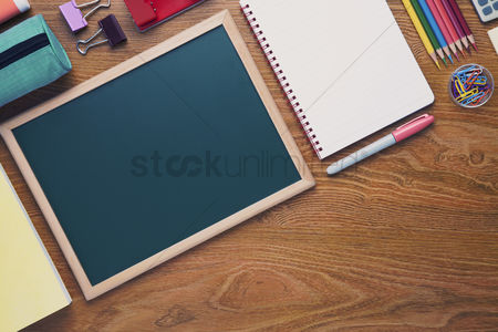 Flatlay : School supplies on desk background with copy space