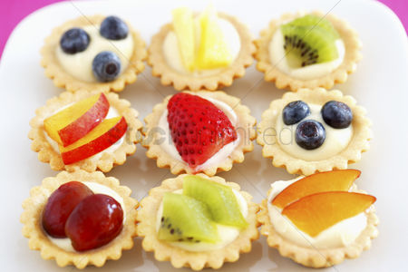 Fruit : Selection of mini fruit cupcakes elevated view