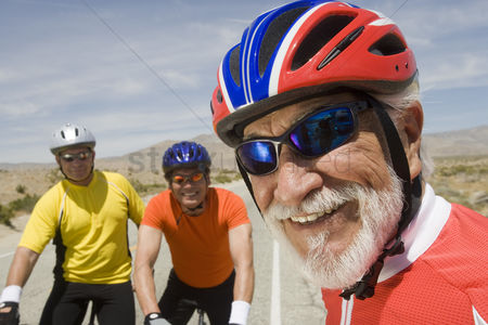 Sports : Senior men wearing cycling helmets