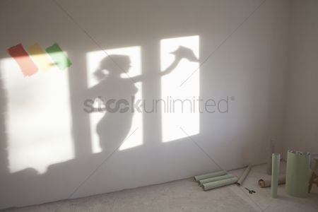 Interior : Shadow of woman cleaning windows in new apartment