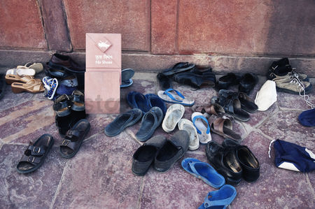 Respect : Shoes outside of a mosque  taj mahal  agra  uttar pradesh  india