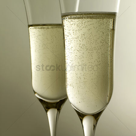 Refreshment : Side view of two glasses of champagne