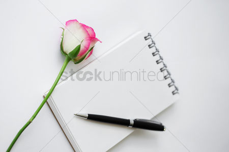 Notepad : Single rose with notepad and pen