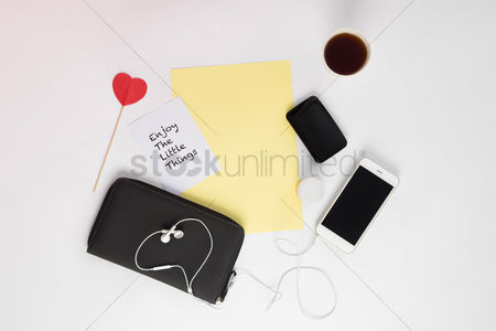 Sets : Smartphone and accessories on white background