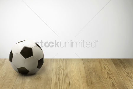 Hexagon : Soccer ball on parquet floor