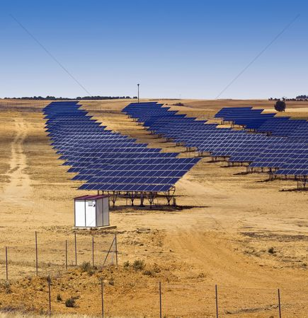 Land : Solar panel field in asturias spain