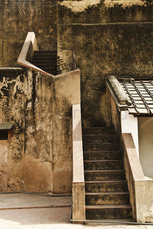 Weathered : Steps in a fort  agra fort  agra  uttar pradesh  india