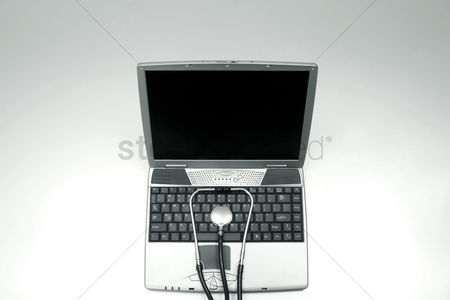 Medication : Stethoscope on laptop