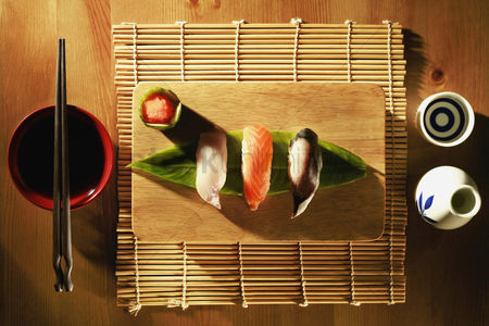 Ready to eat : Sushi on chopping board