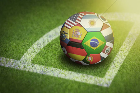 Pitch : Taking corner with world flags soccer ball