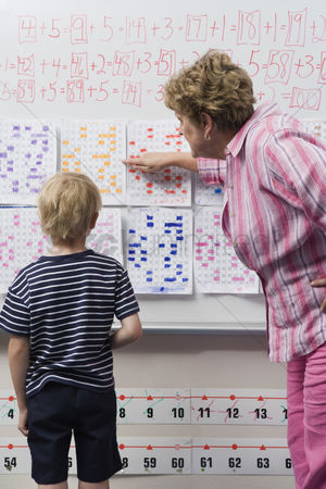 Instruction : Teacher explaining calendar to little boy