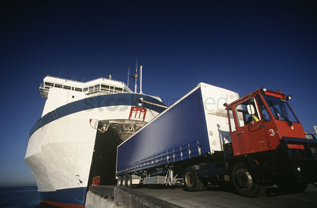 Transportation : Truck exiting ferry port melbourne victoria australia
