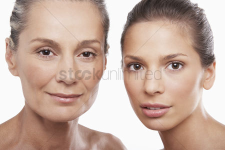 Head shot : Two beautiful women different ages