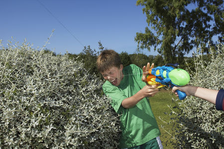 Fight : Two boys  6-11  playing with water pistols among bushes laughing close-up of hand with gun
