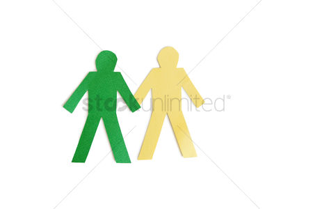 Arts : Two stick figures holding hands over white background
