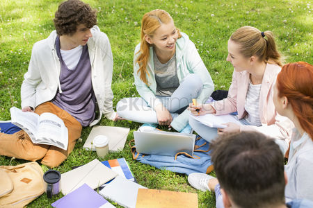 University : University friends studying together on grass