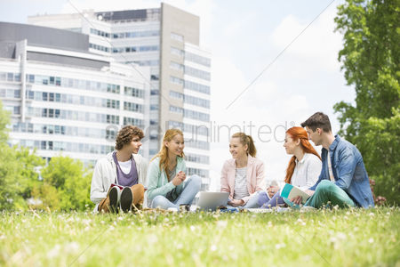 College : University students studying together on campus ground