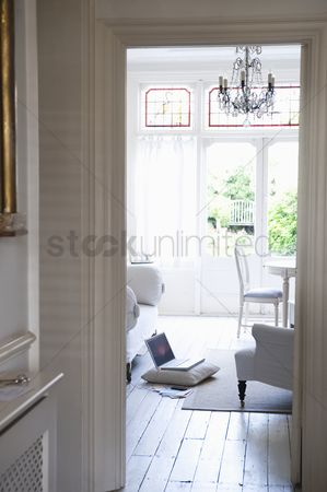 England : View through doorframe from hallway to living room
