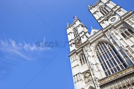 Land : Westminster abbey and blue sky
