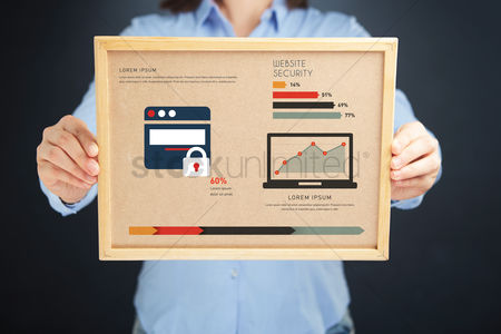 Devices : Woman holding board with website security concept and infographics