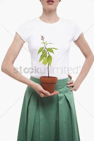 Houseplant : Woman holding potted plant half length cropped
