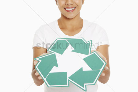 Bidayuh ethnicity : Woman holding up a recycle logo