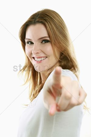 China : Woman pointing with index finger