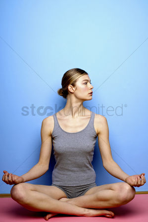 Resting : Woman practicing yoga