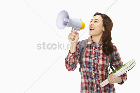 School : Woman shouting into a megaphone
