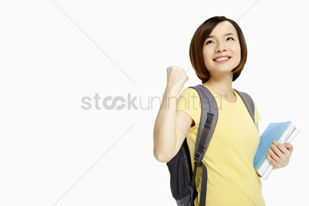 Asian : Woman smiling and cheering