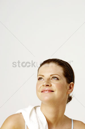 Workout : Woman smiling while looking up