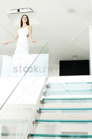 Stairs : Woman smiling while thinking