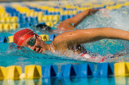 Swimmer : Woman swimming in pool