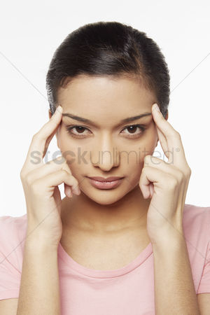 Malaysian indian : Woman touching her forehead