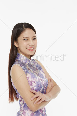 Lunar new year : Woman with arms crossed  smiling