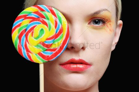 British ethnicity : Woman with lollipop