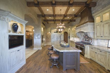 Furniture : Wood beamed ceiling of palm springs kitchen