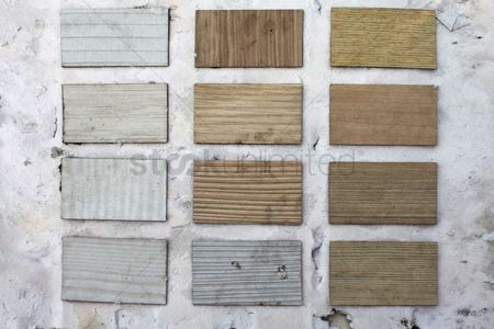 Weathered : Wood samples on weathered wall