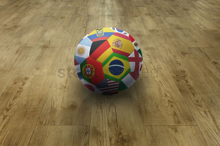 Nationality : World flags soccer ball on parquet floor