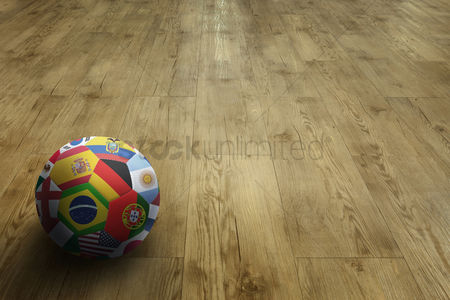 Korea republic : World flags soccer ball on parquet floor