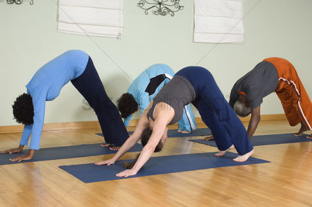 Females : Yoga class stretching