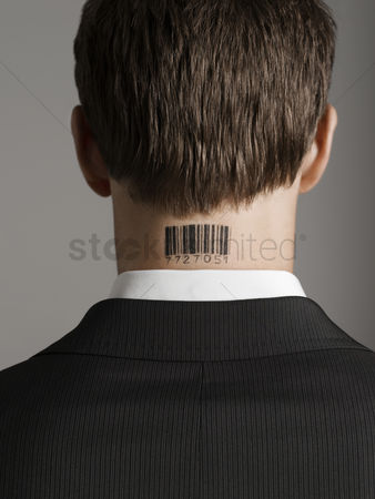 Corporation : Young man with bar code tattoo on his neck back view